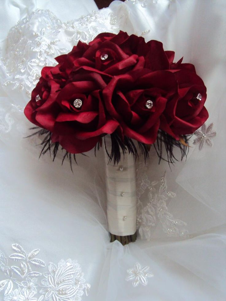 Real Touch Red Roses accented with Black Ostrich Feathers Wedding Bouquet