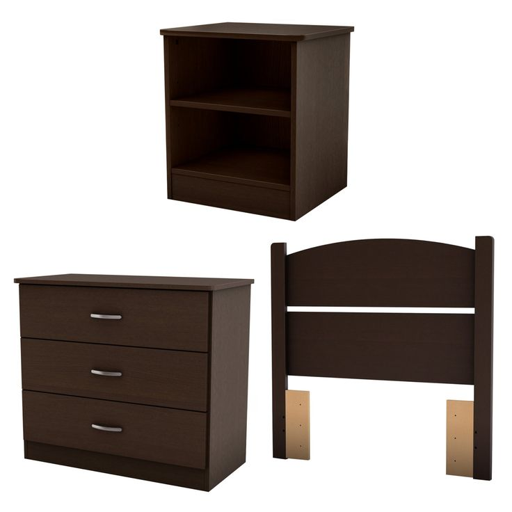 South Shore Libra Collection Twin Bedroom in a Box - Chocolate - 3159223
