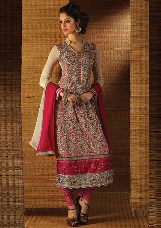USD 48.86 Cherry Red Georgette Embroidery Churidar Suit 43442