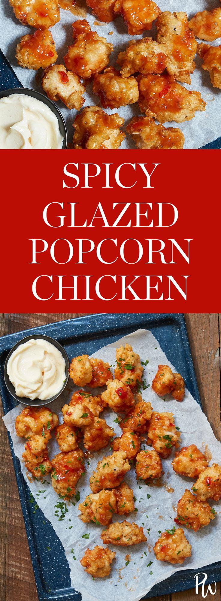 Spicy Glazed Popcorn Chicken