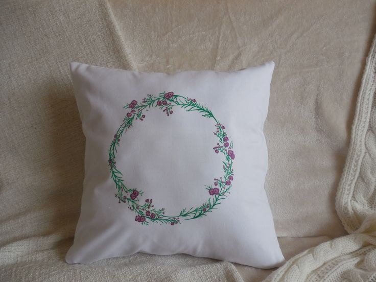 White pillow,with painted rosemary wreath