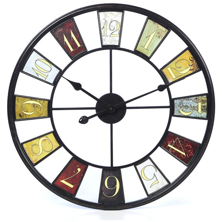 "Elevate a bare space or add a distinctive finishing touch to your gallery wall with this eye-catching 24"" metal clock. Its multicolor palette pairs perfectly with a neutral wall for a contrasting look, while its open design brings breezy flair to your decor. Play up this piece's industrial influence by adding it to a living room comprised of rich faux-leather sofas and exposed wood and metal end tables for a cohesive look, the roll out a chic hide rug to tie the space together in..."