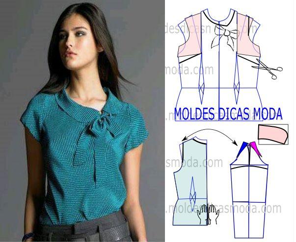 Esta publicação de transformação do molde blusa de laço tem como objectivo atender ao pedido de uma seguidora da página. Corte e costura fácil de blusa.