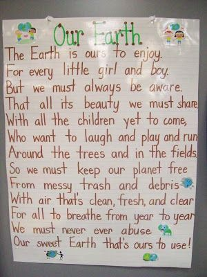 Earth Day Poster from Mrs. Terhune's First Grade Site!
