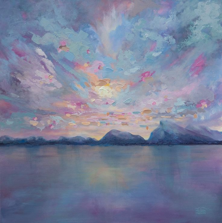 """Rundle Sky"" 36×36 Original Acrylic Landscape Painting on Canvas by Contemporary Canadian Artist Melissa McKinnon 