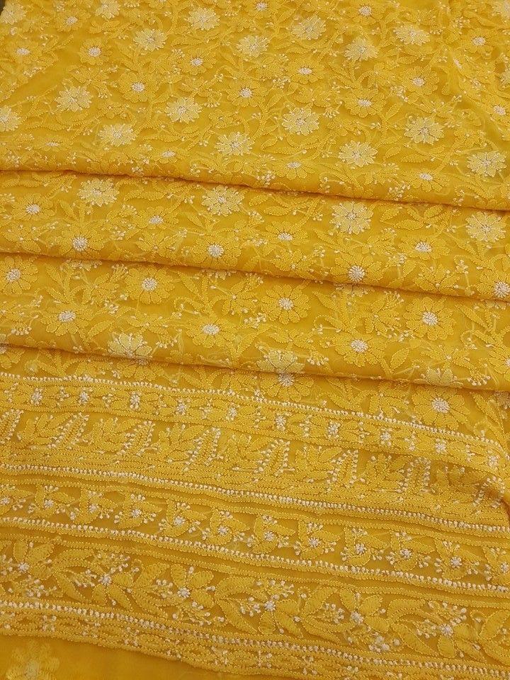 Lucknowi Chikankari Online Suit Length 3 piece Yellow Georgette with very fine resham chikankari murri & shadow work with designer daaman & embroidered dupatta