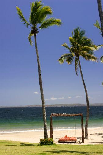 Beach scene from El Tamarindo resort, Tenacatita Bay, Costa Alegre, Jalisco…