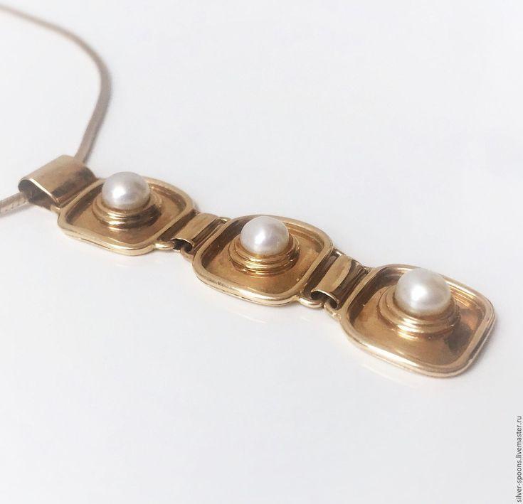 Купить Подвеска с жемчугом. Кулон с тремя жемчужинами. - украшение на шею, колье, ожерелье, украшение для невесты