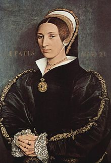 Catherine Howard was the fifth wife of King Henry VIII of England. portrait  by Holbein, 1540. after just seventeen months of marriage to the king, she was arrested for adultery. The king was distraught king