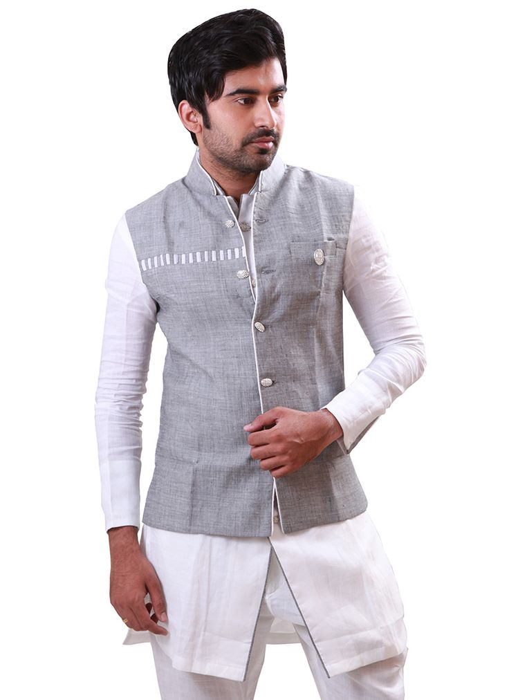 Grey N White Linen Bandi Set