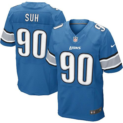 Men's Nike Detroit Lions #90 Ndamukong Suh Elite Team Color Blue Jersey$129.99