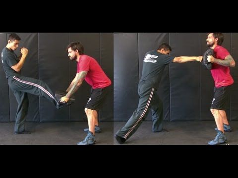 Krav Maga - Front Kick/Straight Punch Combination (Back Foot Details) - YouTube