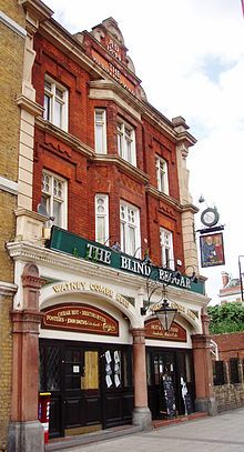 The Blind Beggar -  Whitechapel opposite The London Hospital.The darkest piece of Blind Beggar pub history is that this is also the pub where Ronnie Kray, a notorious East End gangster (along with his twin brother Reggie) walked into the bar and shot a man in cold blood in front of the shocked patrons.