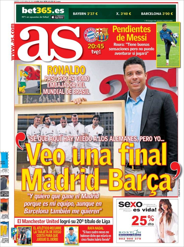 Los Titulares y Portadas de Noticias Destacadas Españolas del 23 de Abril de 2013 del Diario Deportivo As ¿Que le parecio esta Portada de este Diario Español?