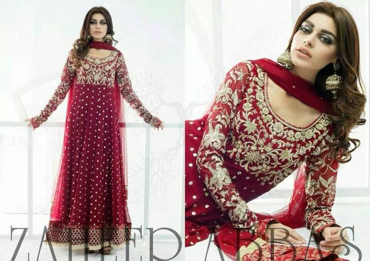 Beautifully crafted red floor-length anarkali with embroidery by Zaheer Abbas