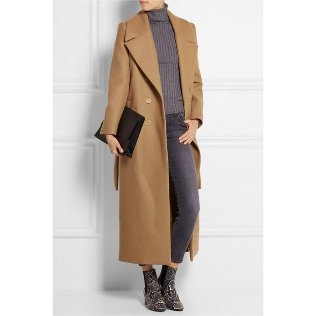 2016 UK European ZA style Women Spring Winter Cassic Simple Woolen Maxi Long Coat With Belt Female Robe Outerwear manteau femme US $53.50 /piece click the link to buy http://goo.gl/YJxPC6