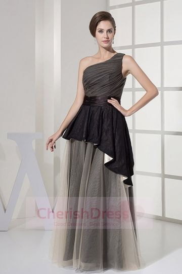 A Line One Shoulder Floor Length Charmeuse Dress with Ruffles