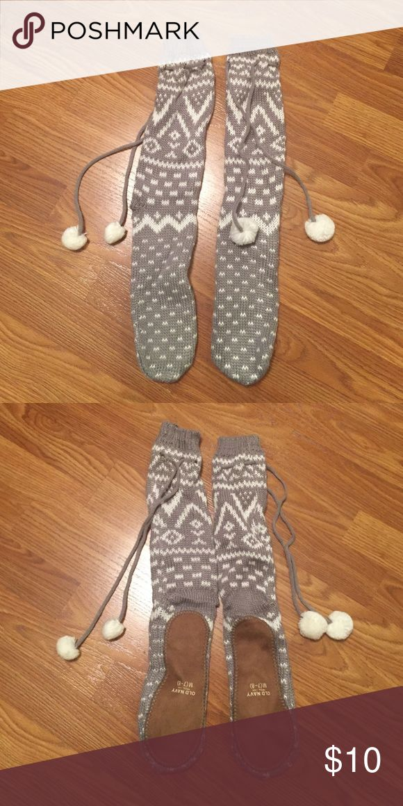 Gray and White Old Navy Slippers New, never worn slippers. Slouchy and soft. Old Navy Shoes