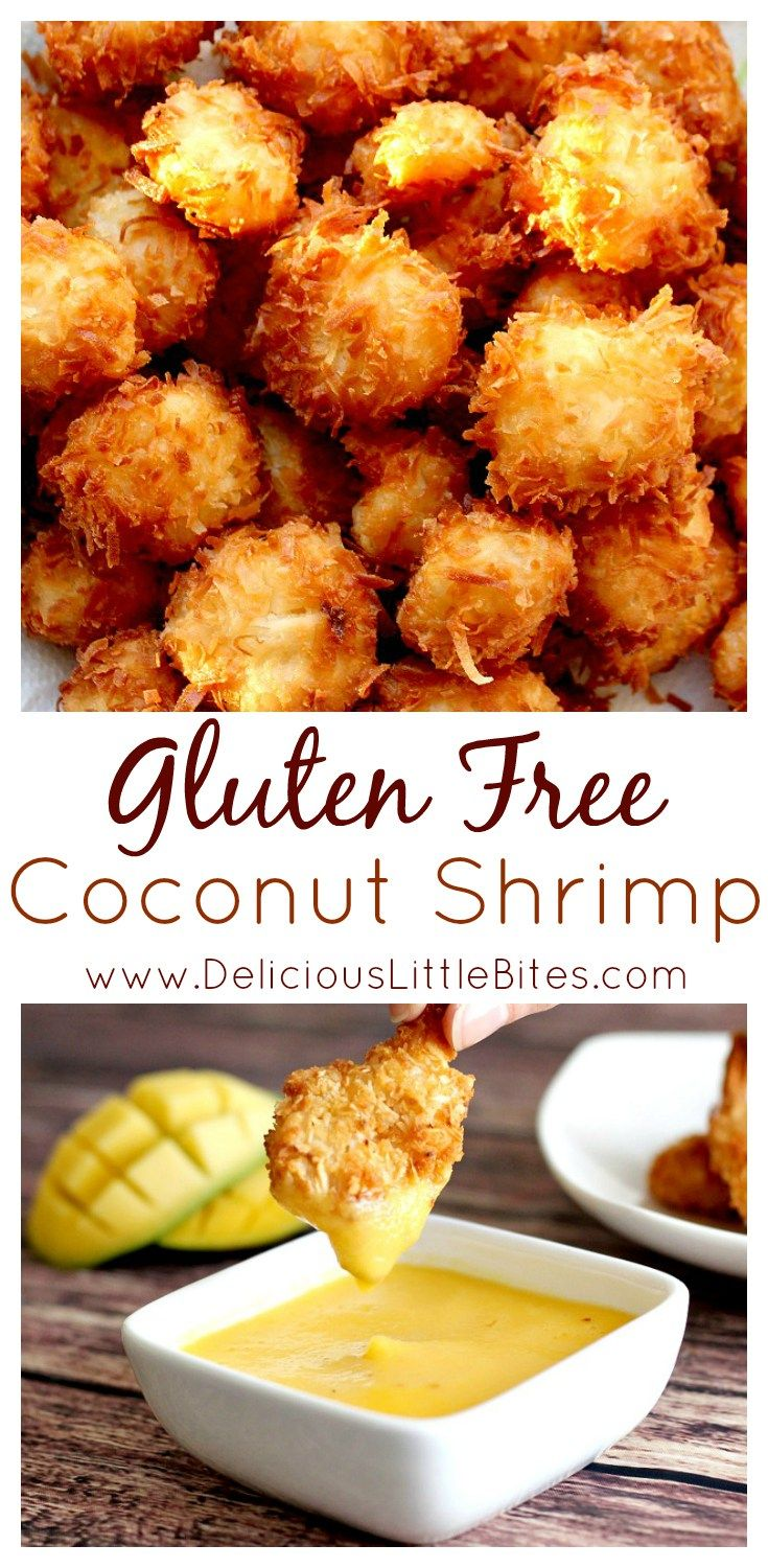 The absolute BEST Gluten Free Coconut Shrimp recipe out there! With coconut milk in the batter and shredded coconut on the outside, these are LOADED with coconut deliciousness! Can easily be made non-gluten free as well! | www.DeliciousLittleBites.com
