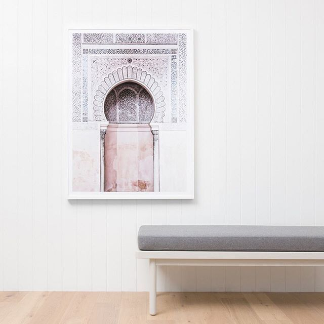 Our framed print Moroccan Arch is one of many framed prints new to our collection. Also pictured here is our Scout Bench in Dove #middleofnowhere #art #monmelbourne