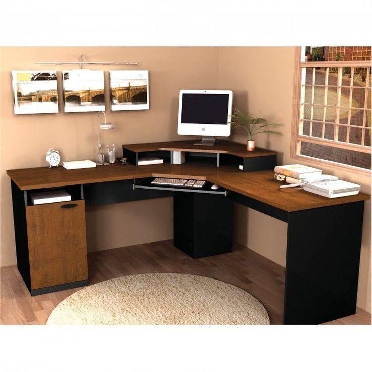Modern Computer Desk Corner Workstation Office Pull Out Keyboard Shelf Desktop #ModernComputerDesk #Modern