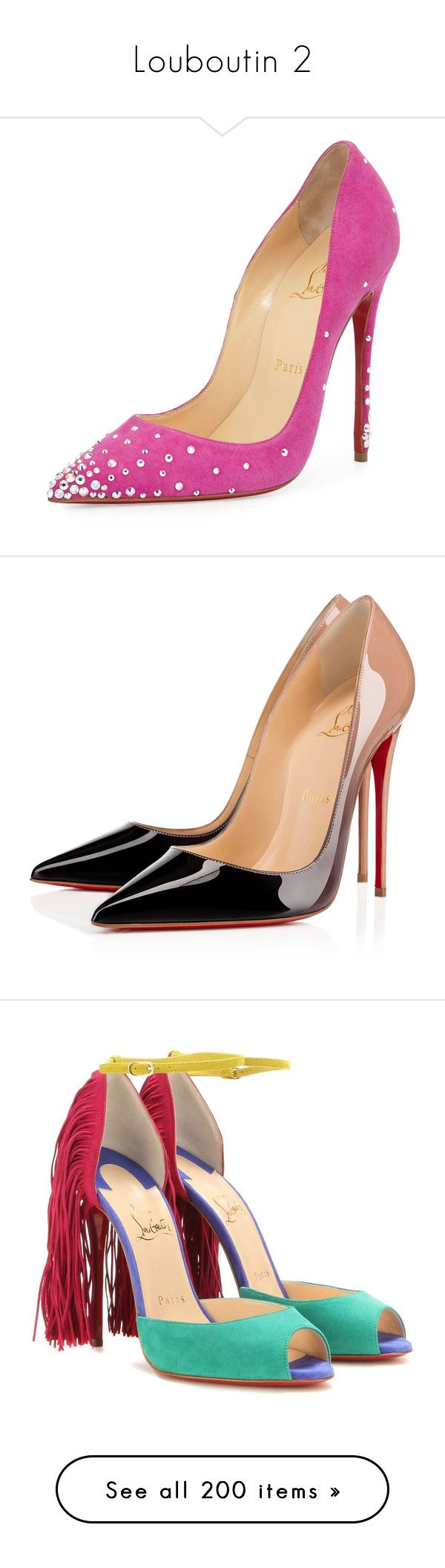"""""""Louboutin 2"""" by jckyleeah ❤ liked on Polyvore featuring shoes, pumps, heels, christian louboutin, scarpe, indian rose, pointed toe shoes, heels & pumps, high heel pumps and slip-on shoes"""