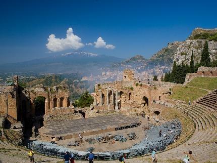 Taormina Greek Theatre with Mount Etna in background!!  #taormina #sicily