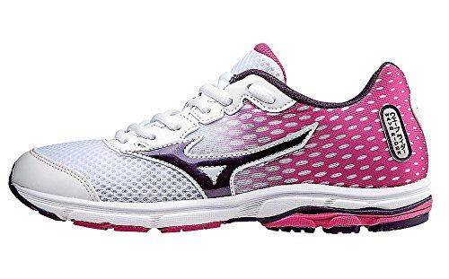Mizuno Wave Rider 18 Junior Kids Running Shoe (Little Kid/Big Kid), White/Shadow Purple, 6 M US Big Kid. Highly cushioned for miles of running. Light and fast. A favorite of runners of all ages. Breathable upper. Wave technology.