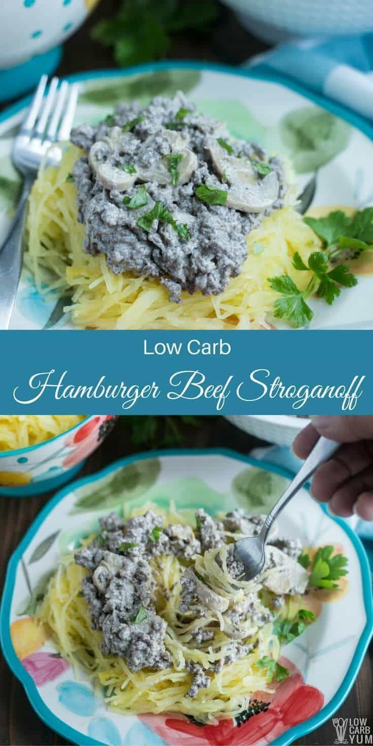 Delicious low carb hamburger beef stroganoff made fast and easy in one pan. Just grab some ground beef, sour cream, mushrooms, and spices.   LowCarbYum.com via @lowcarbyum