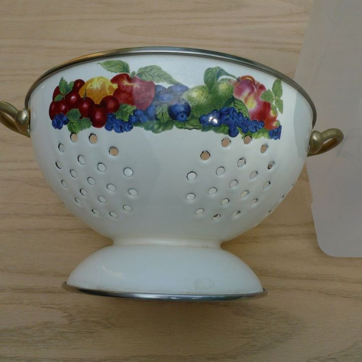 Town And Country >> Details about Vintage Enamel Colander Cream with Fruit, Pear Apple Cherries Grapes etc ...