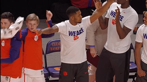 New party member! Tags: dance dancing ncaa clemson clemson tigers bench celebration basketball #clemson #clemsontigers #tigers