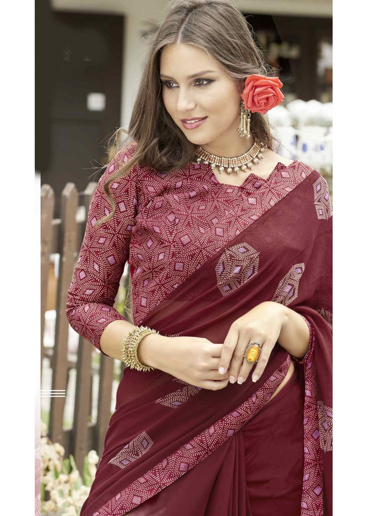 Deep Red Faux Georgette Traditional Printed Saree. Shop Now: https://goo.gl/LH5DuW