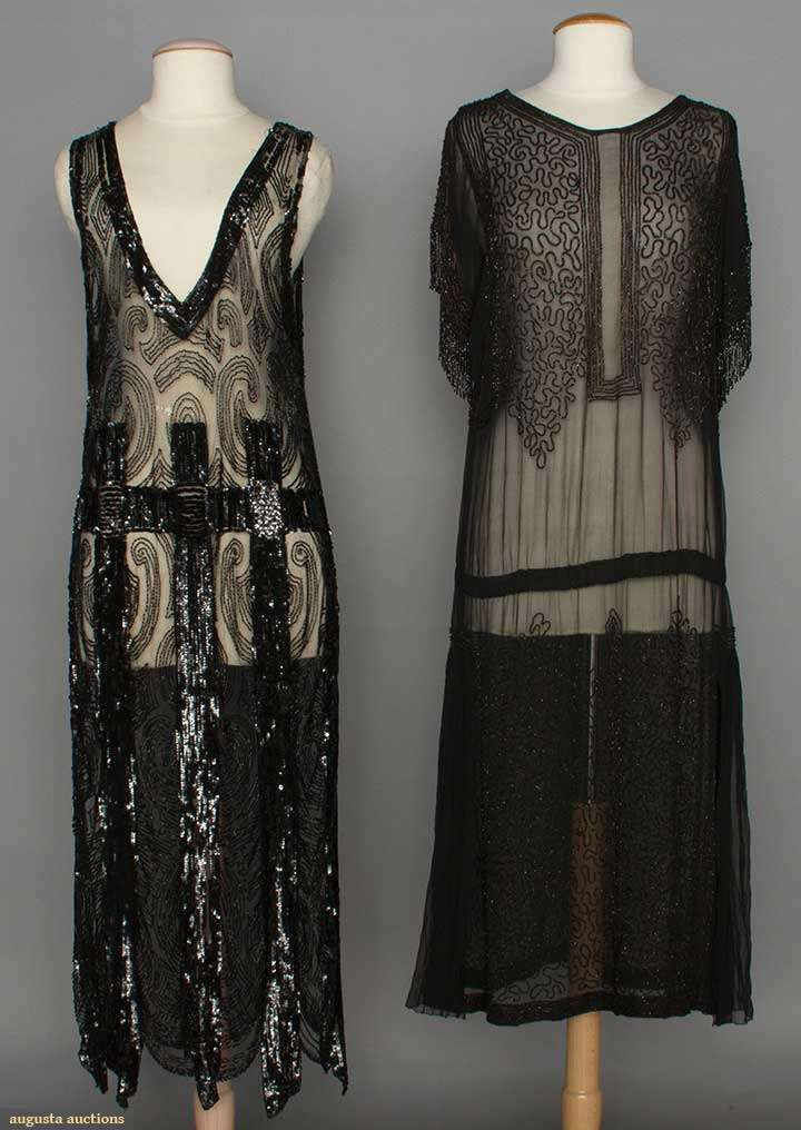 Two Beaded Black Dresses, 1920s, Augusta Auctions, April 9, 2014 - NYC, Lot 204