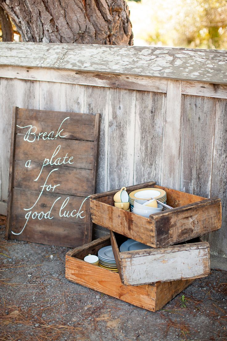 """""""Break a Plate for Good Luck!"""" See the wedding on Style Me Pretty: http://www.StyleMePretty.com/california-weddings/2014/02/17/mankas-boathouse-wedding-with-a-bowtie-bar/ Larissa Cleveland Photography"""