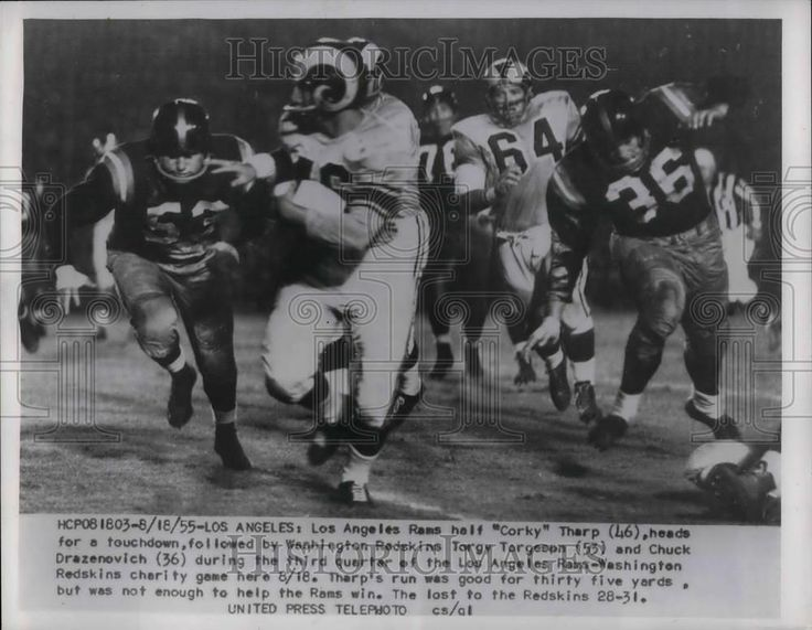 1955 Press Photo Rams Corky Tharp and Redskins Torgy Targeson