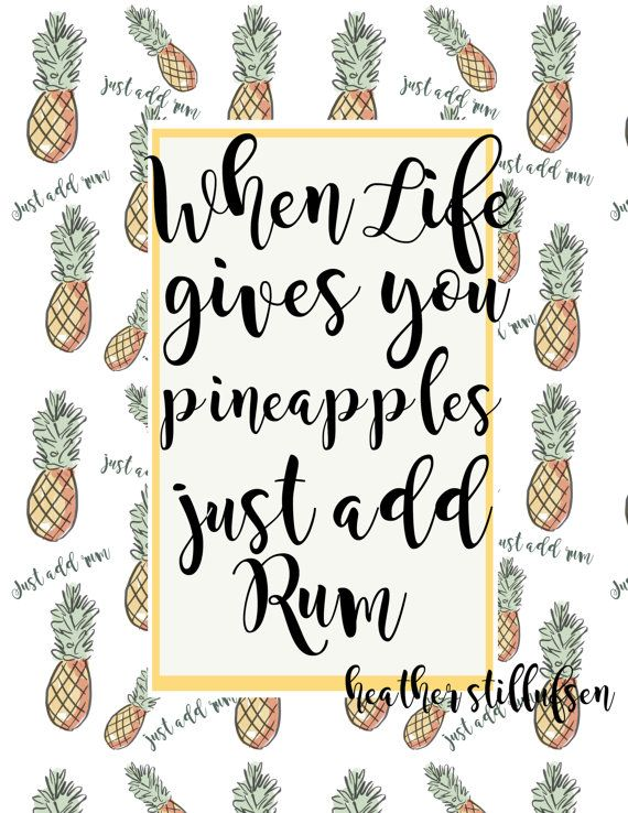 Bar Cart Art  Cocktail Art  Pineapple Art  by RoseHillDesignStudio