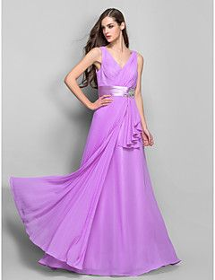TS+Couture®+Prom+/+Formal+Evening+/+Military+Ball+Dress+-+Open+Back+Plus+Size+/+Petite+Sheath+/+Column+V-neck+Floor-length+Chiffon+/+Stretch+Satin+–+USD+$+335.00