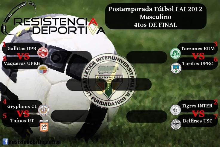 [LAI - Fútbol] Partidos pautados para mañana en el comienzo de los cuartos de final de la Liga Atlética Interuniversitaria de PR.    1) Gallitos @uprrp vs. 8) Vaqueros #UPRB   miércoles, 2:00pm @ Bayamón Soccer Complex  2) Tigres #INTER vs. 7) Delfines #USC   miércoles, 2:00pm @ Gurabo  3) Tarzanes #RUM vs. 6) Toritos #UPRC   miércoles, 4:00pm @ Bayamón Soccer Complex  4) Gryphons #CU vs. Taínos #UT   miércoles, 4:00pm @ Gurabo