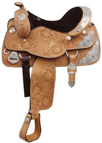 """Fully Tooled Double T 16"""" Show Saddle With Basketweave And Floral Tool 