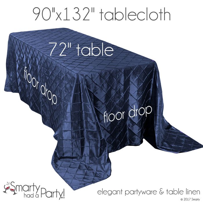 """A 90"""" x 132"""" tablecloth will fall to the floor on a 72"""" banquet table.  View the entire tablecloth size guide for banquet tables here! #TableclothSizeGuide 