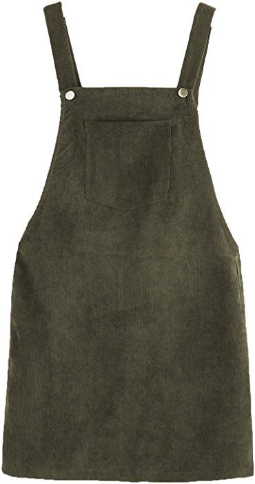 cd64caf1a64 Romwe Women s Straps A-Line Corduroy Pinafore Bib Pocket Overall Dress Army  Green L at Amazon Women s Clothing store