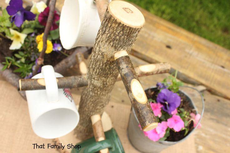 Kitchen Display Coffee Cup Tree Mug Holder Rustic Teacup