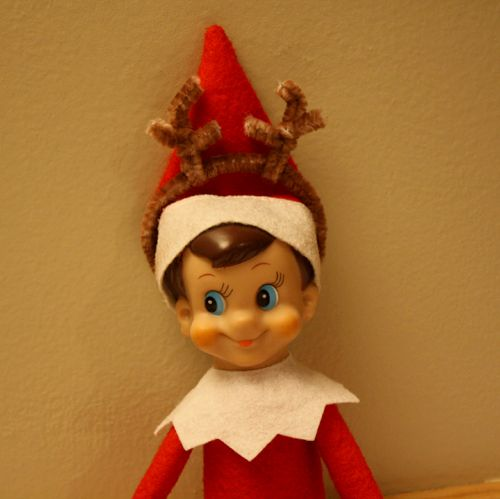 With brown pipe cleaner antlers