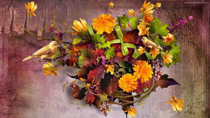 Jesienny Bukiet, Kwiaty, Liście, Ptaszki, Art