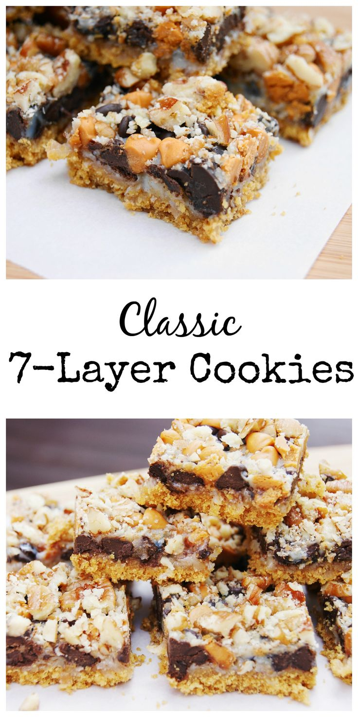 Classic 7 Layer Cookies ... you can't go wrong with 7 yummy ingredients layered in a pan.  #Christmas #cookies #cookieexchange www.thekitchenismyplayground.com