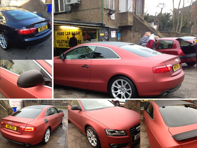Audi S5 Matte Metallic Red Vinyl Wrap By Wrapping Cars London