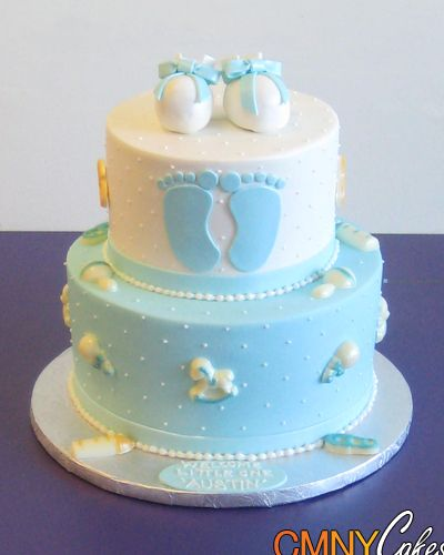 Baby shower cakes blue baby feet baby shower cake cmny for Baby footprints cake decoration