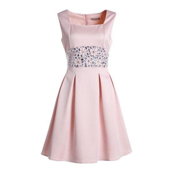 Pink Boat Neck Sleeveless Beading Dress ($53) ❤ liked on Polyvore featuring dresses, bateau neckline dress, no sleeve dress, boatneck dress, bateau neck dress and sleeveless beaded dress