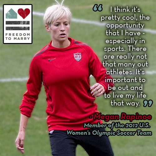 Yesterday, openly gay soccer player Megan Rapinoe scored two goals at the Olympics to help propel the U.S. women's soccer team to a win against Canada!