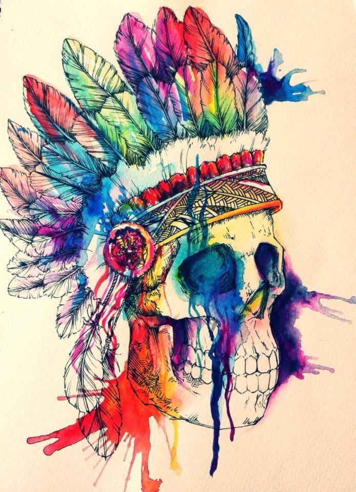 Skull Watercolor Illustrations by Odji. I don't like skulls but the headdress is amazing